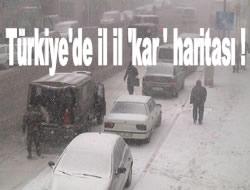 Türkiye'de il il 'kar ' haritası !
